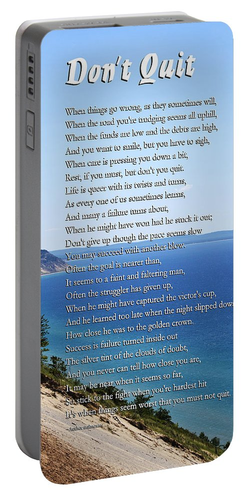 Inspirational Portable Battery Charger featuring the mixed media Don't Quit Inspirational Poem by Christina Rollo