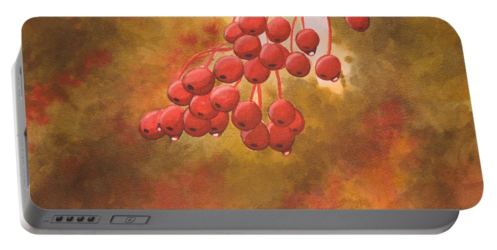 Rick Huotari Portable Battery Charger featuring the painting Door County Cherries by Rick Huotari