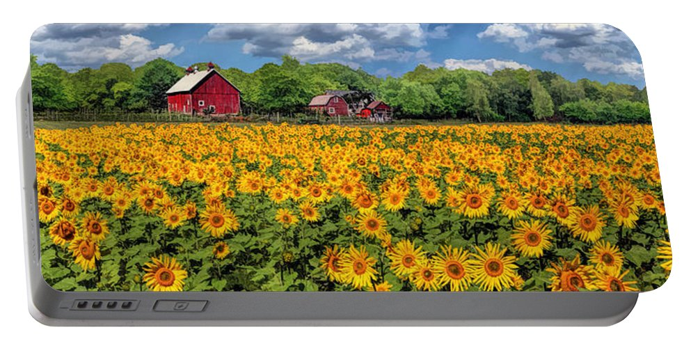 Door County Portable Battery Charger featuring the painting Door County Field Of Sunflowers Panorama by Christopher Arndt