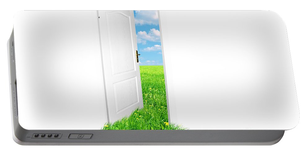 Air Portable Battery Charger featuring the photograph Door To New World. Version 2 by Michal Bednarek