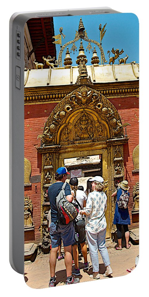 Doorway In Bhaktapur Durbar Square In Bhaktapur-nepal Portable Battery Charger featuring the photograph Doorway In Bhaktapur Durbar Square In Bhaktapur-nepal by Ruth Hager