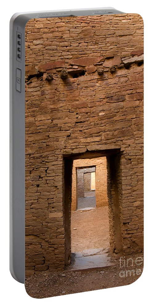 Pueblo Bonito Portable Battery Charger featuring the photograph Doorways In Pueblo Bonito by Vivian Christopher