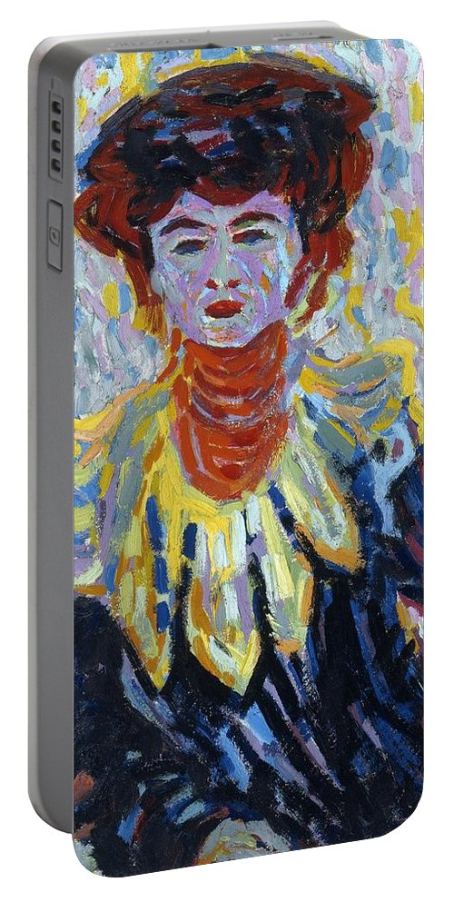 1906 Portable Battery Charger featuring the painting Doris With Ruff Collar by Ernst Ludwig Kirchner