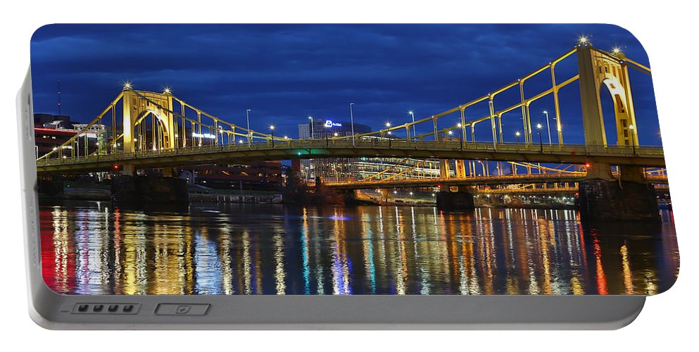Pittsburgh Pa. Pennsylvania Andy Warhol Warhola Skyline Bridge Skyline Skycap Urban Urbanx Taaffe Jimmy City Bridge North Shore Color Portable Battery Charger featuring the photograph Double Agent by Jimmy Taaffe