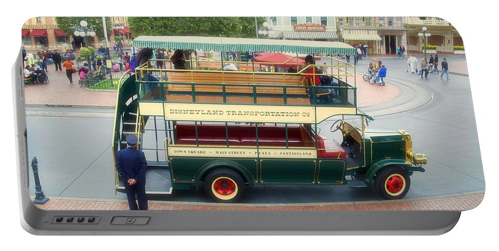 Disney Portable Battery Charger featuring the photograph Double Decker Bus Main Street Disneyland 02 by Thomas Woolworth