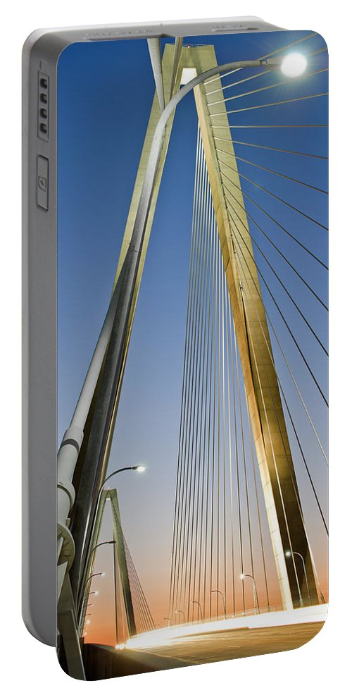 A Multiple Second Exposure Of The Double Diamonds On The Ravenel Bridge In Charleston Portable Battery Charger featuring the photograph Double Diamonds At Sunset by Andrew Crispi