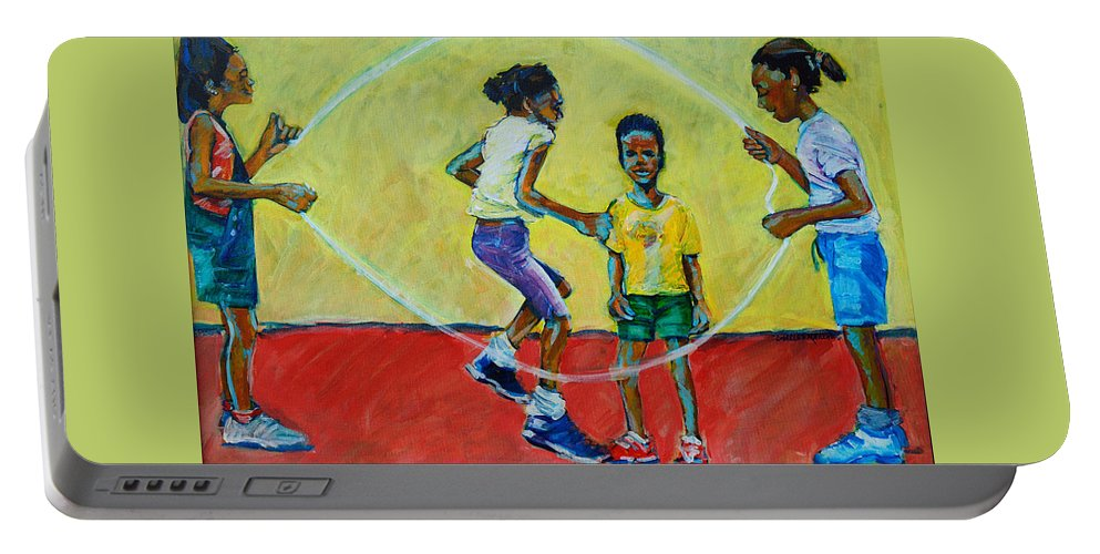 Play Portable Battery Charger featuring the painting Double Dutch by Charles M Williams