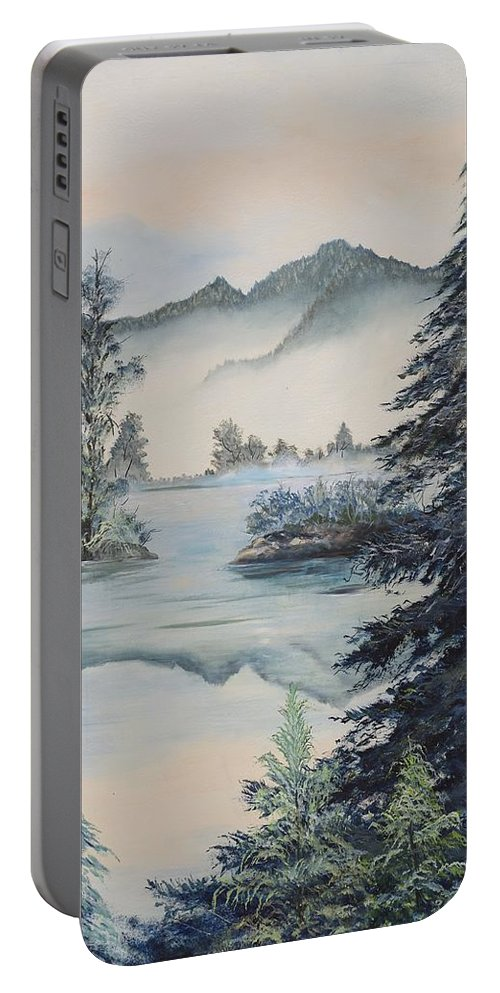 Mountains Portable Battery Charger featuring the painting Double The View by Gladys Berchtold