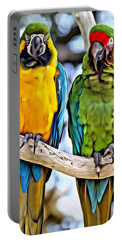Macaws Portable Battery Charger featuring the photograph Double Troublers by Alice Gipson