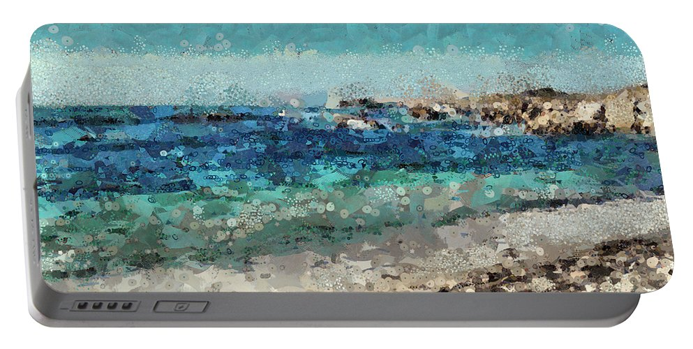 Sea Portable Battery Charger featuring the mixed media Down By The Sea 2 by Angelina Vick