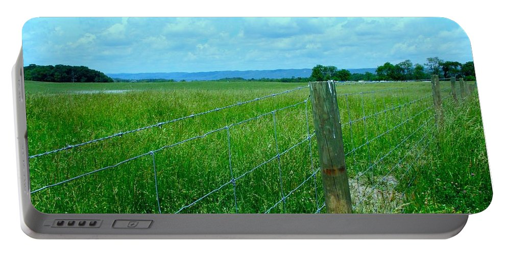 Clouds Portable Battery Charger featuring the photograph Down The Fence by Kendall Kessler
