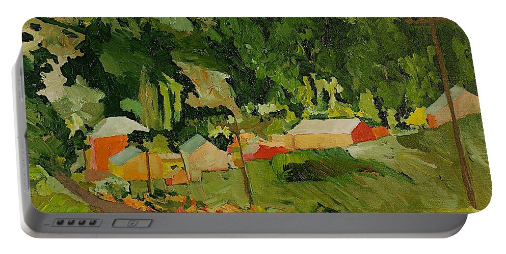 Landscape Portable Battery Charger featuring the painting Down The Road by Allan P Friedlander
