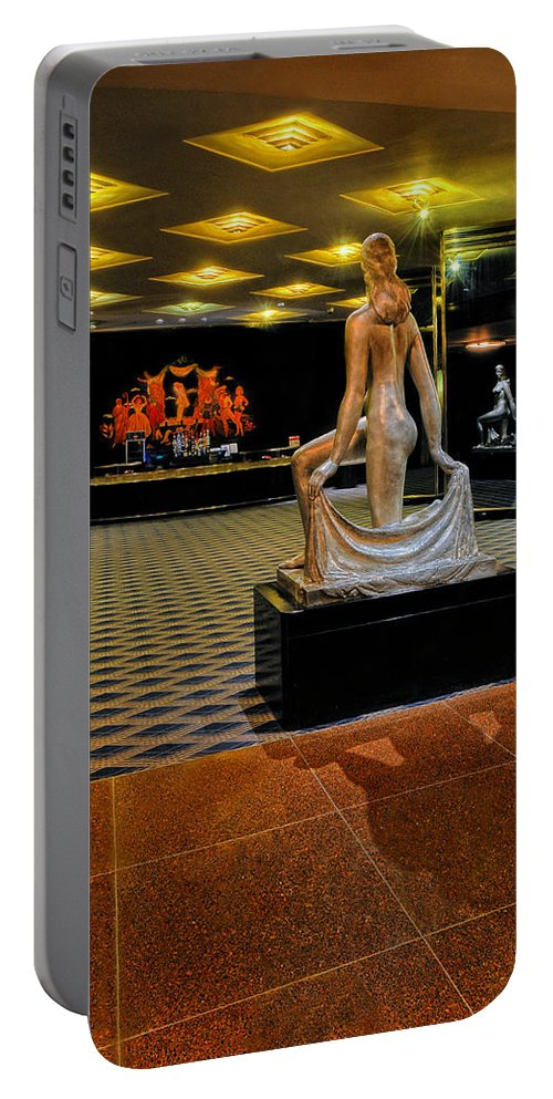 Radio City Music Hall Portable Battery Charger featuring the photograph Downstairs Lobby Radio City Music Hall by Dave Mills