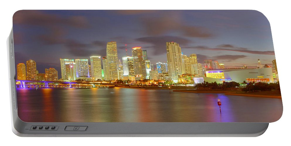 United States Portable Battery Charger featuring the photograph Downtown Miami And Aaa by Claudia Domenig
