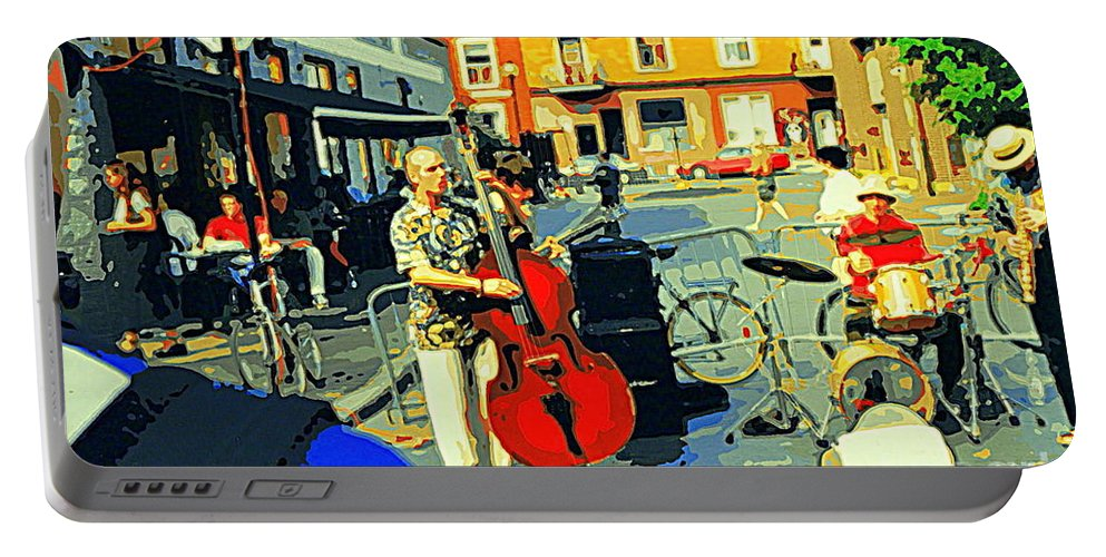 Musicians Portable Battery Charger featuring the painting Downtown Street Musicians Perform At The Coffee Shop With Cool Tones On A Hot Summer Day by Carole Spandau