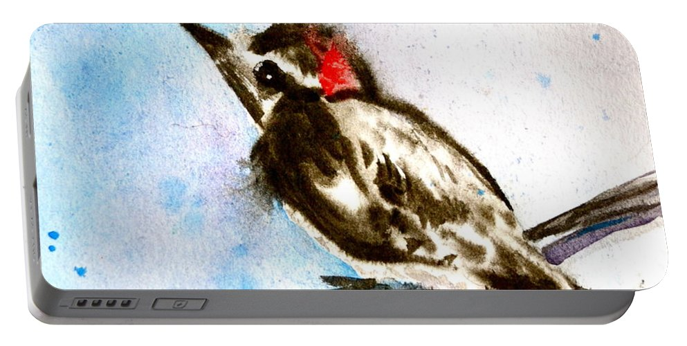 Downy Woodpecker Sumi-e Portable Battery Charger featuring the painting Downy Woodpecker Sumi-e by Beverley Harper Tinsley