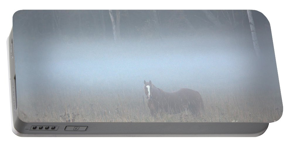 Portable Battery Charger featuring the photograph Dozer In The Fog by Cheryl Baxter