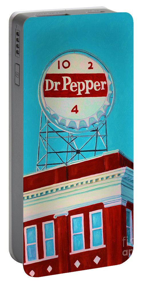 Dr. Pepper Sign Portable Battery Charger featuring the painting Dr Pepper Sign Roanoke Virginia by Todd Bandy