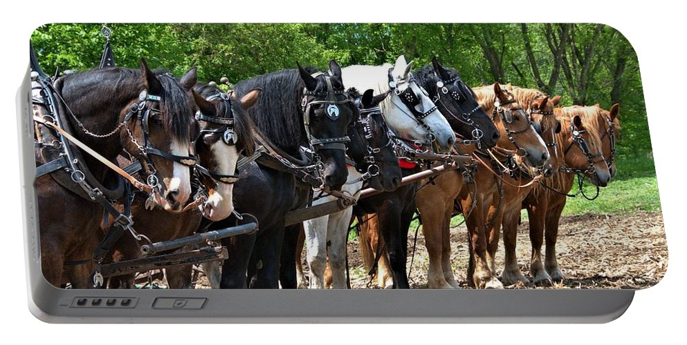 Horse Portable Battery Charger featuring the photograph Draft Horses All In A Row by Valerie Kirkwood