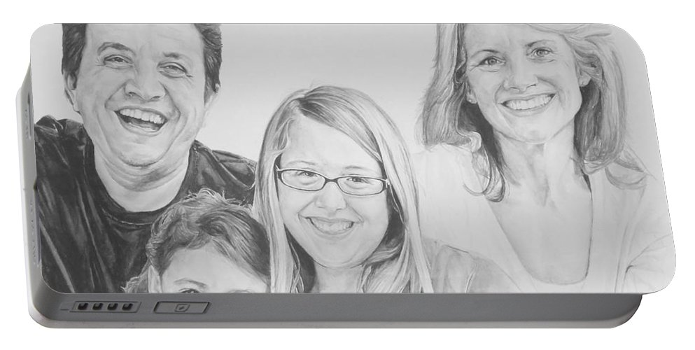 Family Portable Battery Charger featuring the painting Dragojlovic Family by Tamir Barkan