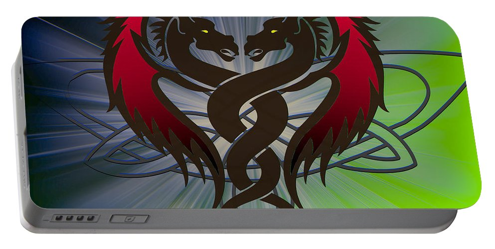 Dragon Portable Battery Charger featuring the digital art Dragon Duel Series 1 by Teri Schuster