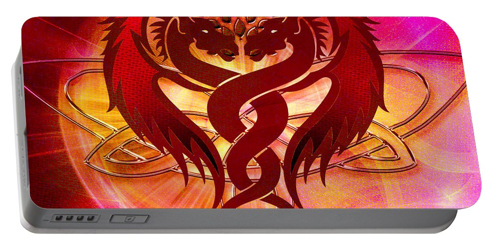 Red Portable Battery Charger featuring the digital art Dragon Duel Series 15 by Teri Schuster