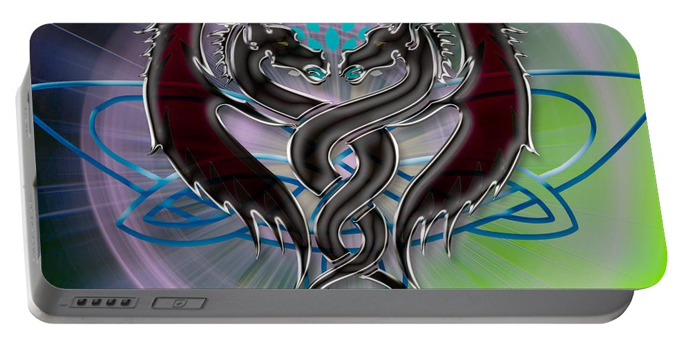 Pink Portable Battery Charger featuring the digital art Dragon Duel Series 16 by Teri Schuster