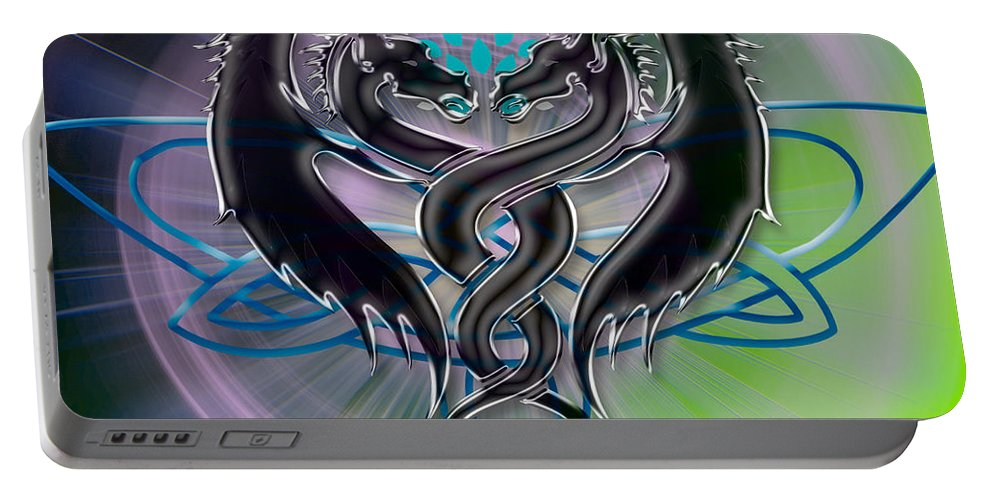 Black Portable Battery Charger featuring the digital art Dragon Duel Series 18 by Teri Schuster