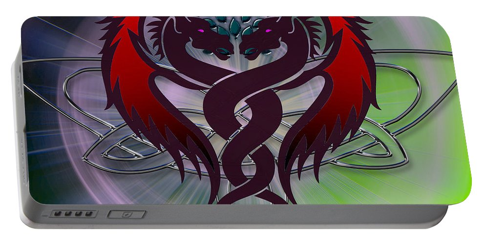 Purple Portable Battery Charger featuring the digital art Dragon Duel Series 6 by Teri Schuster