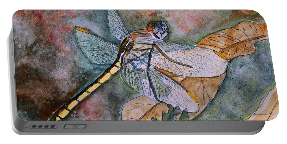 Dragonfly Portable Battery Charger featuring the painting Dragonfly by Derek Mccrea