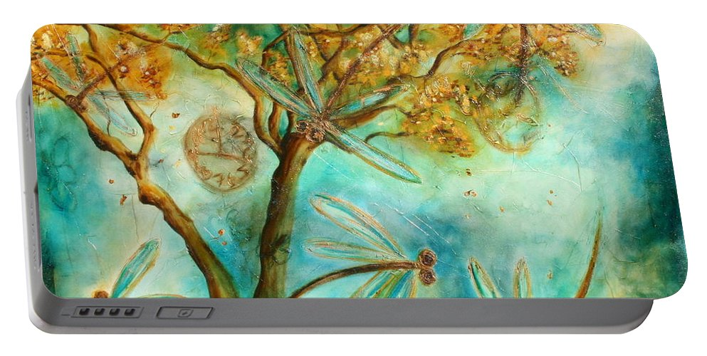 Dragonflies Portable Battery Charger featuring the painting Dragonfly Flirtation by Lyndsey Hatchwell