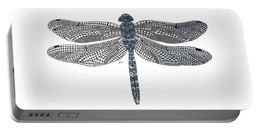 Insect Portable Battery Charger featuring the drawing Dragonfly by Leanne Karlstrom