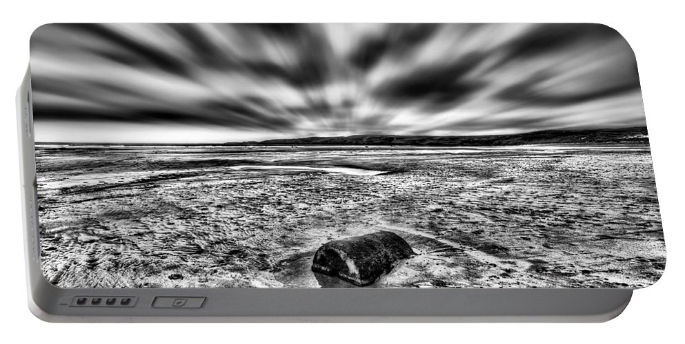 Freshwater West Portable Battery Charger featuring the photograph Drama At Freshwater West Mono by Steve Purnell