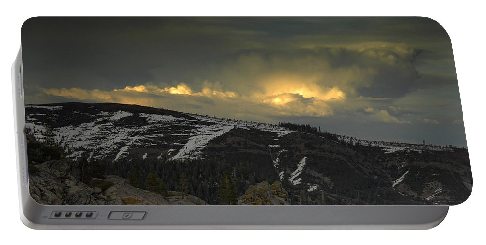 Mountains Portable Battery Charger featuring the photograph Drama Is Coming by Donna Blackhall