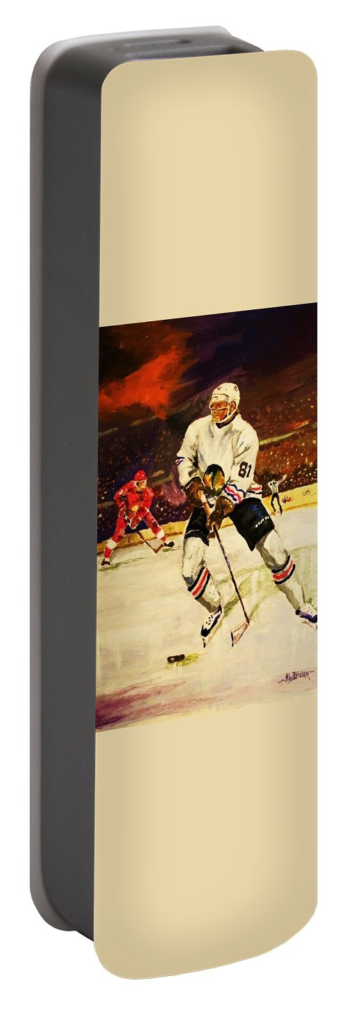 Hockey Portable Battery Charger featuring the painting Drama On Ice by Al Brown