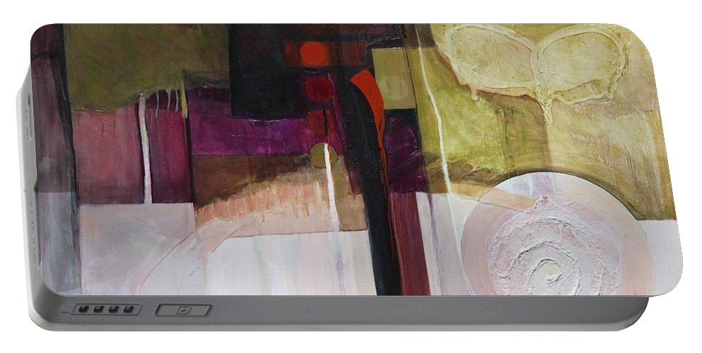 Paper Portable Battery Charger featuring the painting Drama Too by Marlene Burns