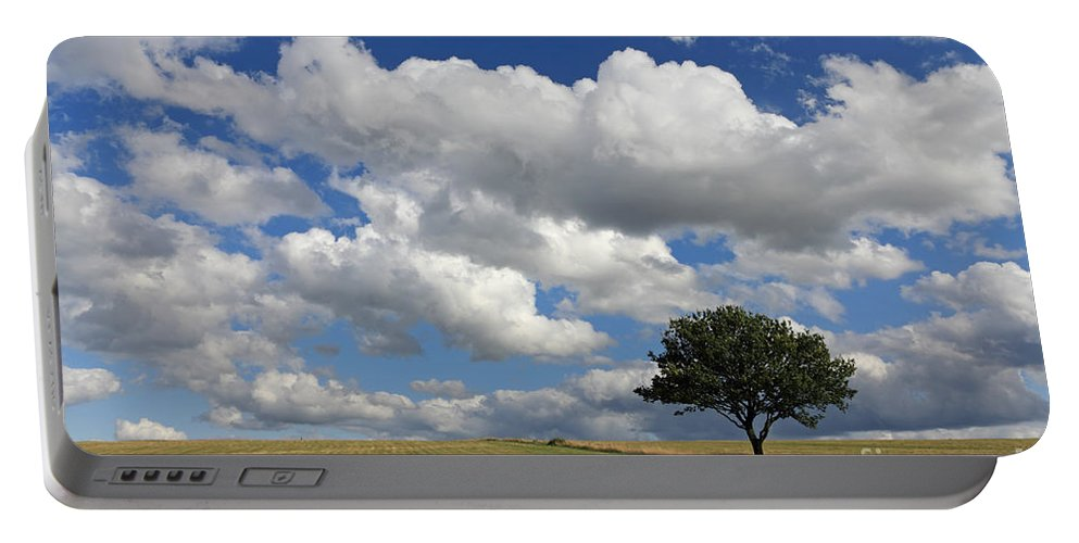 Dramatic Clouds And The Tree Epsom Downs Surrey England Uk English British Britain Landscape Countryside Wow Fluffy Cloud Single Lone Depth Cumulus White Blue Sky Skies Drifting Portable Battery Charger featuring the photograph Dramatic Clouds And The Tree by Julia Gavin