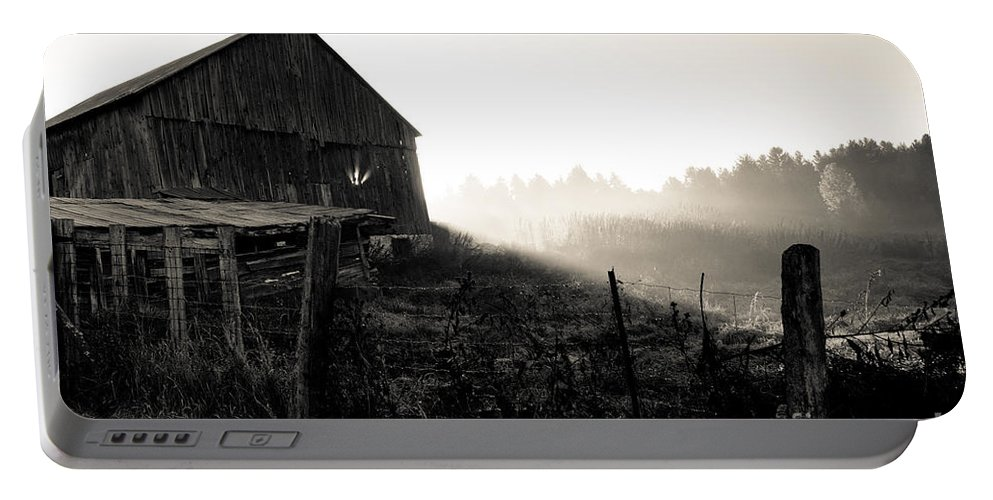 Portable Battery Charger featuring the photograph Dramatic Farm Sunrise by Cheryl Baxter