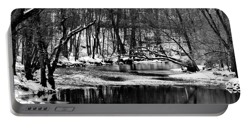 Winter Portable Battery Charger featuring the photograph Dramatic Waterway by Art Dingo