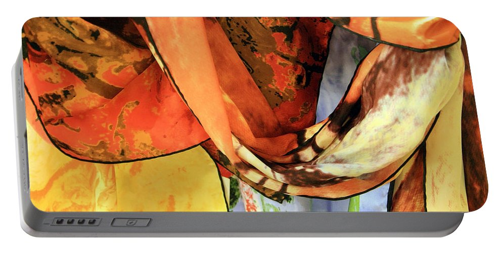 Scarves Portable Battery Charger featuring the photograph Draped Scarves by Cora Wandel