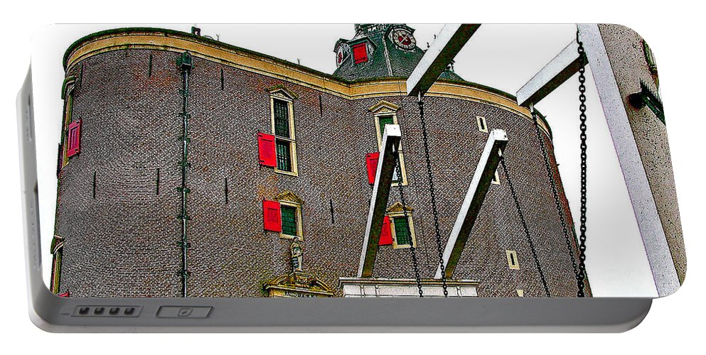 Drawbridge And Tower In Enkhuizen Portable Battery Charger featuring the photograph Drawbridge And Tower In Enkhuizen-netherlands by Ruth Hager