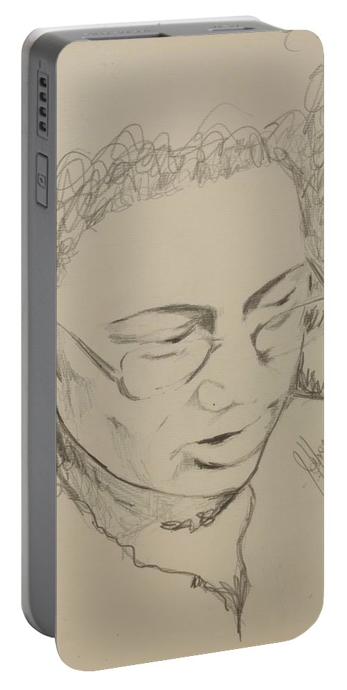 Portrait Portable Battery Charger featuring the drawing Drawing Of A Woman by Jolante Hesse