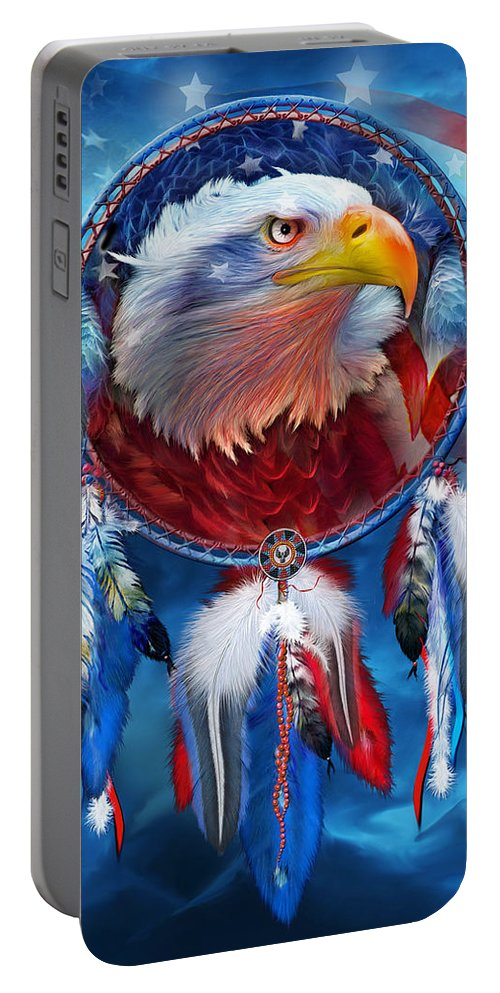 Carol Cavalaris Portable Battery Charger featuring the mixed media Dream Catcher - Eagle Red White Blue by Carol Cavalaris