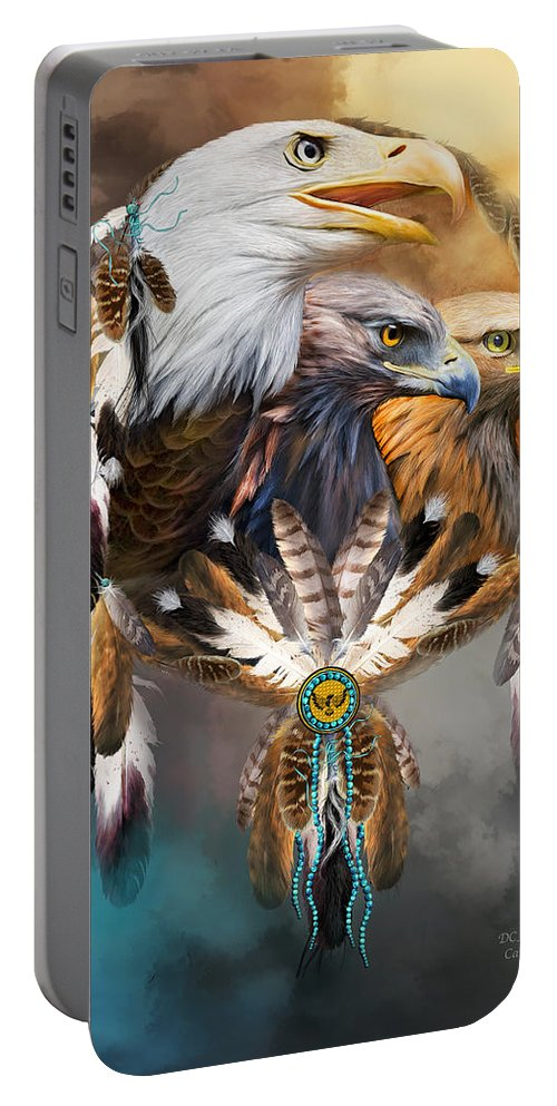 Carol Cavalaris Portable Battery Charger featuring the mixed media Dream Catcher - Three Eagles by Carol Cavalaris