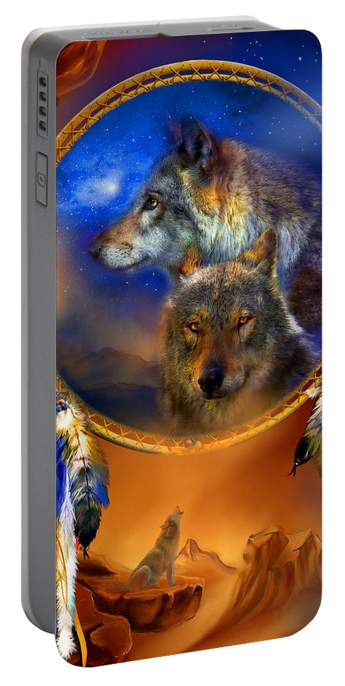 Carol Cavalaris Portable Battery Charger featuring the painting Dream Catcher - Wolf Dreams by Carol Cavalaris