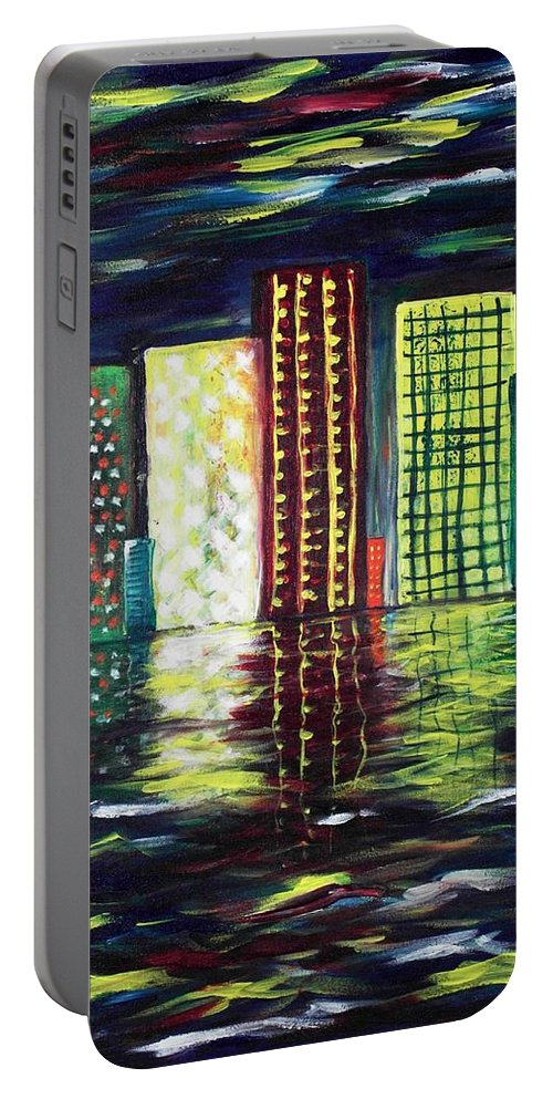 Skyline Portable Battery Charger featuring the painting Dream City by Anastasiya Malakhova
