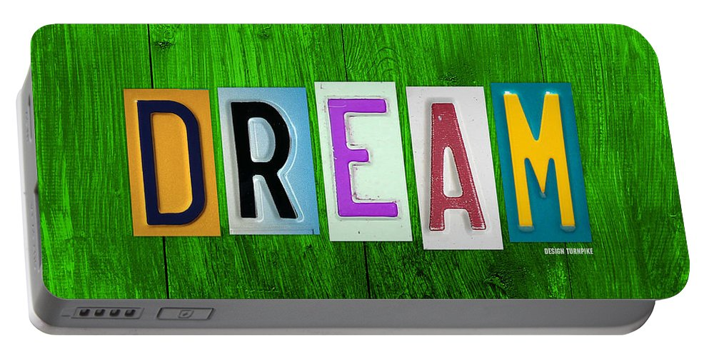 Dream License Plate Letter Vintage Phrase Artwork On Green Portable Battery Charger featuring the mixed media Dream License Plate Letter Vintage Phrase Artwork On Green by Design Turnpike