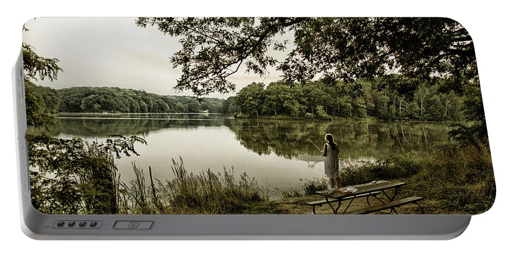 Trees Portable Battery Charger featuring the photograph Dreaming Of Fishing At Argyle Lake by Thomas Woolworth