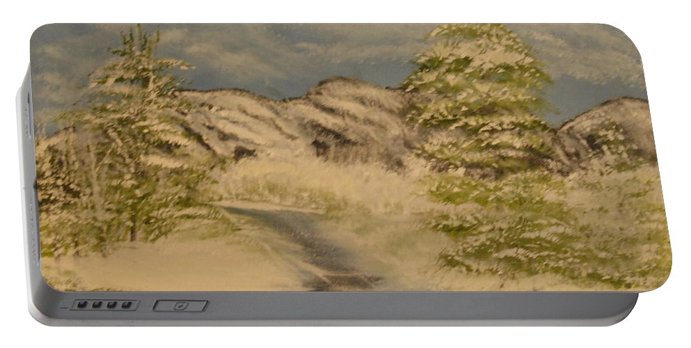 Snow Portable Battery Charger featuring the painting Dreams Of Snow by Suzanne Surber
