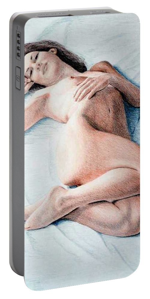 Joe Ogle Portable Battery Charger featuring the drawing Dreamy by Joseph Ogle